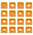 cloud icons set orange square vector image vector image