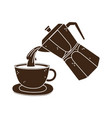 coffee moka pot pouring on cup fresh silhouette vector image vector image