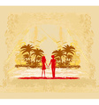 Couple in love looking at the sunset vector image vector image