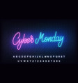 cyber monday neon glowing lettering sign vector image vector image