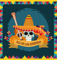 day dead sugar skull with hat guitar vector image vector image