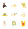 Egypt icons set cartoon style vector image vector image