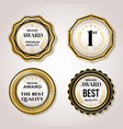 elegant pearl white labels set golden pearl badge vector image
