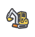 excavator with bucket icon cartoon vector image
