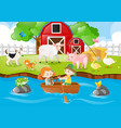 farm scene kids rowing boat in river vector image vector image