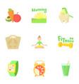 Fitness icons set cartoon style