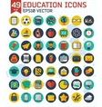 Flat education and business icons set vector image
