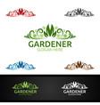 gardener logo with green garden environment vector image vector image
