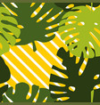 green tropical leaves on colorful white and yellow vector image
