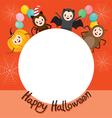 Halloween Cartoon Character On Circle Frame vector image vector image