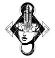 hand drawn of female head with rocket surreal vector image vector image