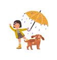 happy girl walking with cute dog under umbrella vector image vector image