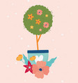 happy spring tree flowers in pot floral decoration vector image vector image