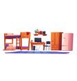 hostel or student dormitory room interior stuff vector image vector image