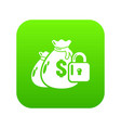 insurance money icon green vector image vector image