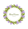 lilac flowers round frame card template with vector image