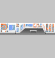 modern art museum hall with white walls vector image