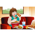 overweight woman eating fast food vector image