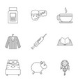 preparation to sleep icon set outline style vector image vector image