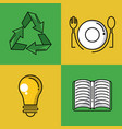 recycle square icons vector image vector image