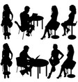set ilhouette girl sitting on a chair white vector image vector image
