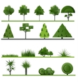 Set of abstract trees shrubs grass on a white vector image vector image