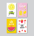 set summer fruits badge isolated typographic vector image vector image