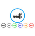 smoking taxi driver rounded icon vector image vector image