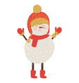 snowman in red hat and scarf vector image