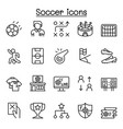 soccer icon set in thin line style vector image