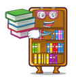 student with book cartoon bookcase in the study vector image