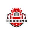 transport truck shield logo vector image