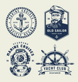 vintage monochrome sea and marine labels vector image vector image