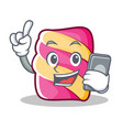 with phone marshmallow character cartoon style vector image vector image