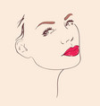 woman face with red lips vector image vector image