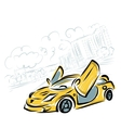 Yellow sport car on city background for your vector image vector image