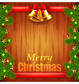 Christmas tree branches and bells on wood vector image