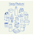 dairy products doodles squared paper vector image