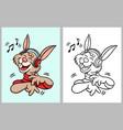 rabbit hearing music cartoon character vector image