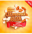 almond milk with almonds milky splash vector image vector image