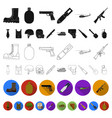army and armament flat icons in set collection for vector image vector image