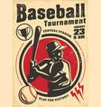 baseball tournament vintage poster design vector image