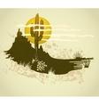 cactus saguaro grunge background card vector image vector image