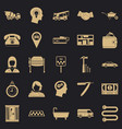 call centre icons set simple style vector image vector image