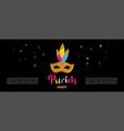 carnival banner with glitter mask festival vector image