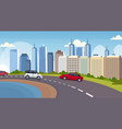 cars and passenger buses driving asphalt highway vector image vector image