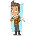 Cartoon cool pilot in leather jacket vector image vector image