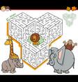 cartoon maze activity with safari animal vector image vector image