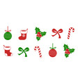 christmas symbol collection set of holly berry vector image