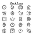 clock icon set in thin line style vector image